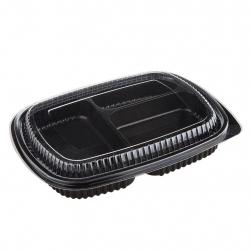 ชุดกล่องอาหาร 3 ช่อง PP+PET (190 x 245 x 45มม.) ใหญ่