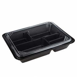 Disposable Extra Large Bento Box 5 partitions PP+PET (25 sets)