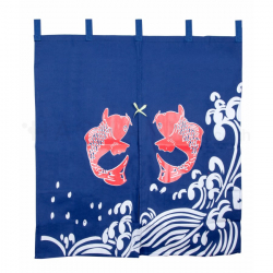 Fish Blue Curtain (Noren) 850 x 750 mm