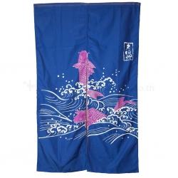 Fish Blue Curtain (Noren) 850 x 1500 mm.