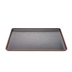 Plastic Black Tray with Red Rim 42.3x33 cm